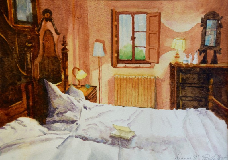 Tuscany Bedroom Watercolor Painting