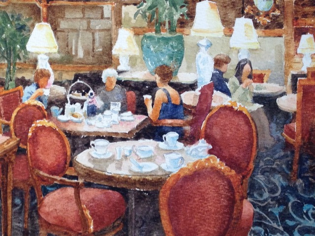High Tea Watercolor Painting by Dennis Pendleton