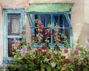 Taos Hollyhocks Watercolor Painting