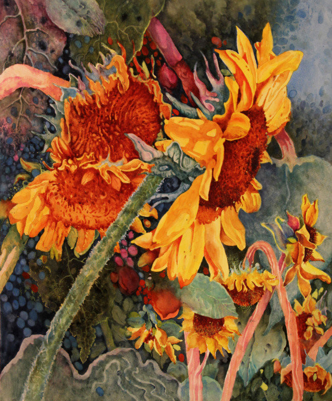 Sunflower Watercolor Painting by Dennis Pendleton