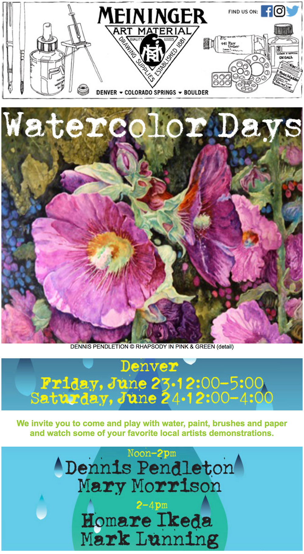 Watercolor Days at Meiningers