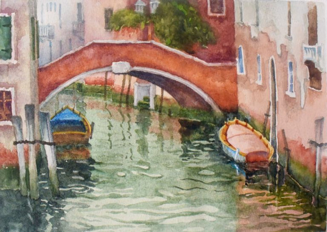 Quiet Morning Venice Watercolor Painting