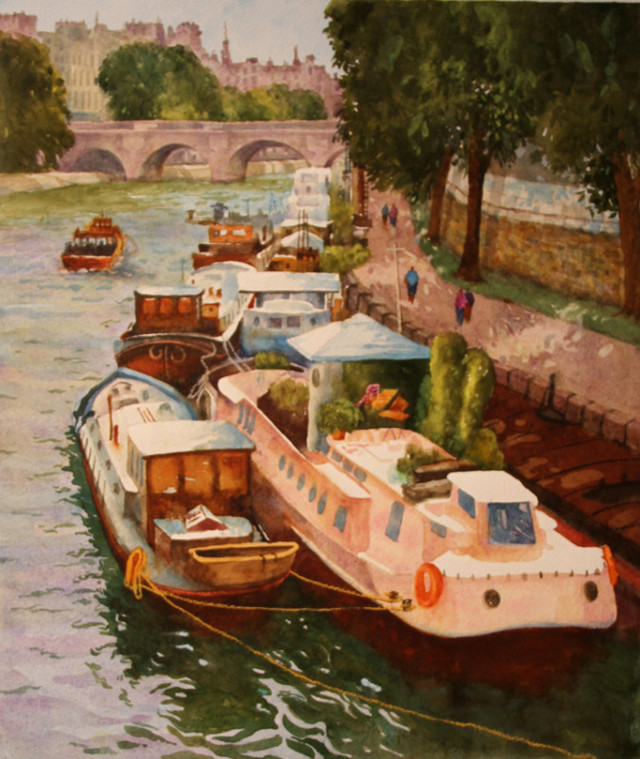 Barges On The Seine Paris Watercolor Painting