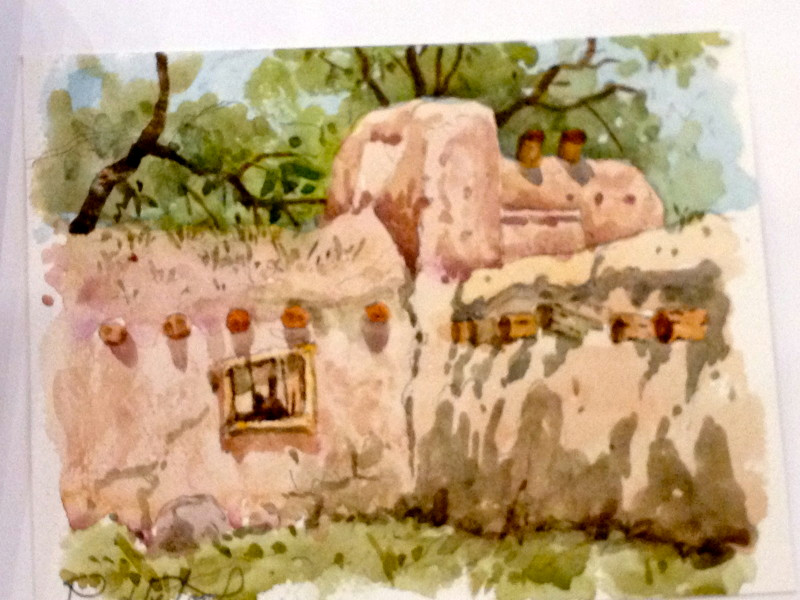 Adobe in Taos New Mexico Watercolor Painting