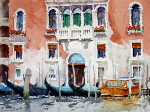 Venice Facade Watercolor Painting