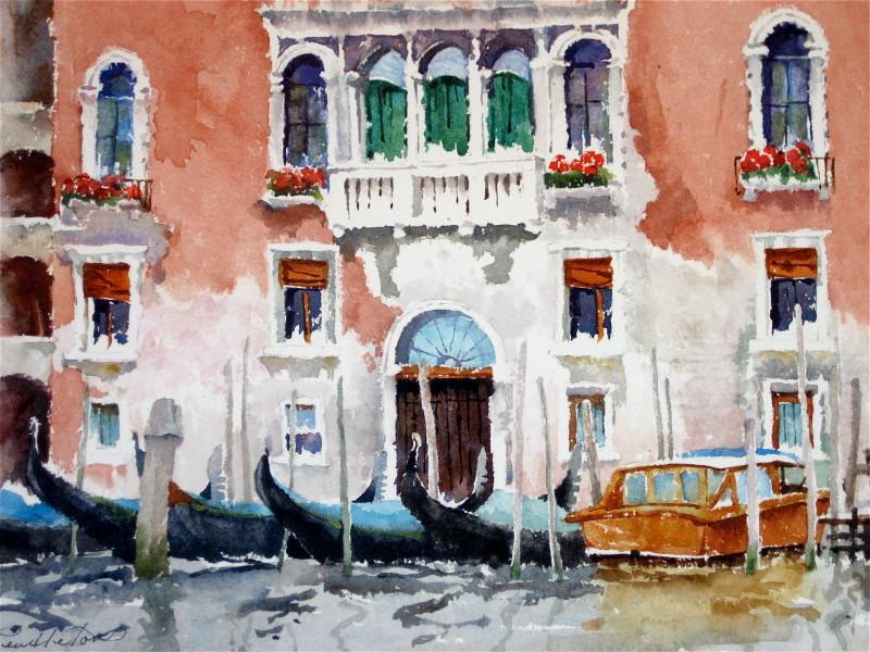 Venice Facade Watercolor Painting