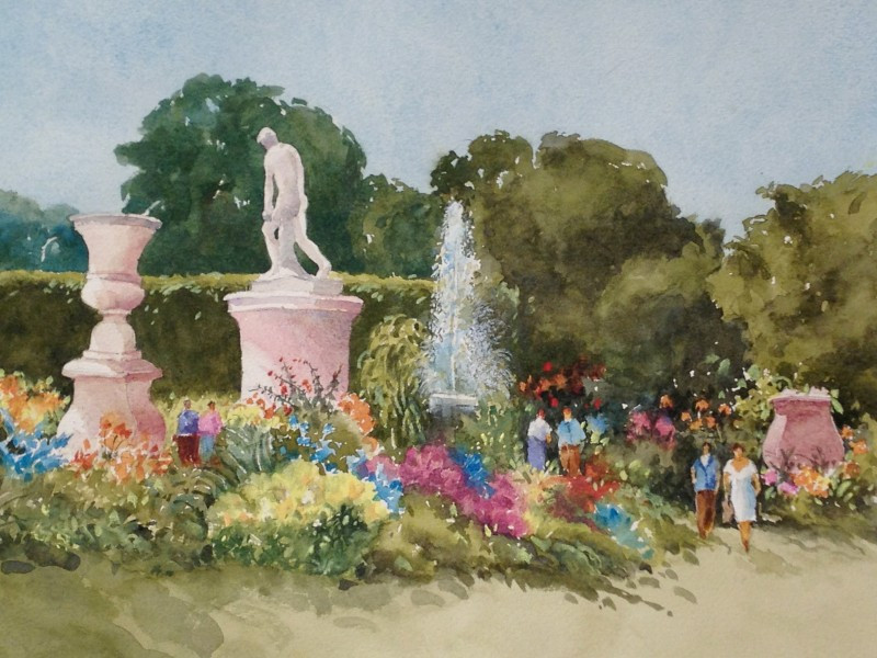 The Tulleries, Paris- Watercolor Painting by Dennis Pendleton