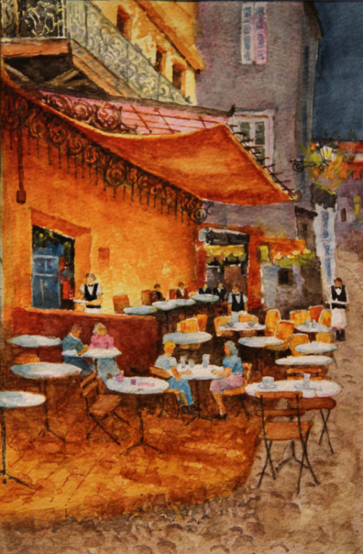 Night Cafe Revisited Watercolor Painting