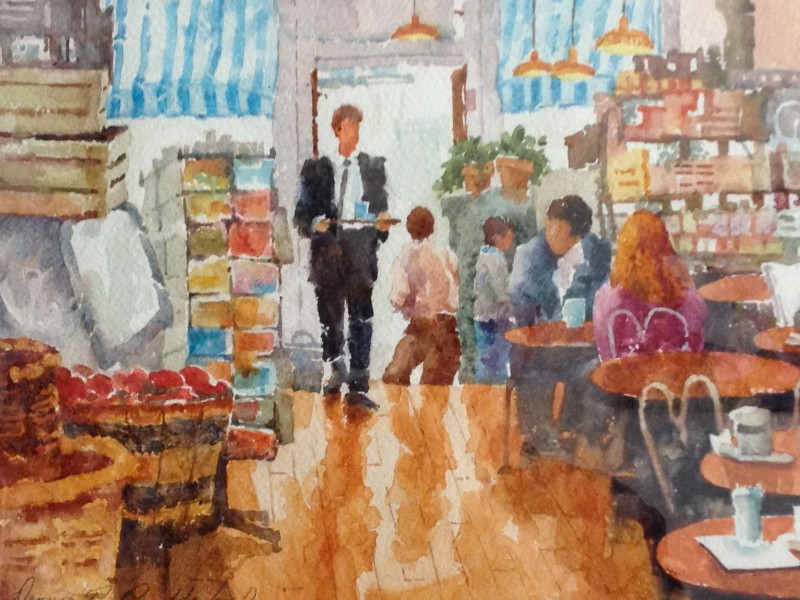 Downtown Denver Watercolor Painting by Dennis Pendleton