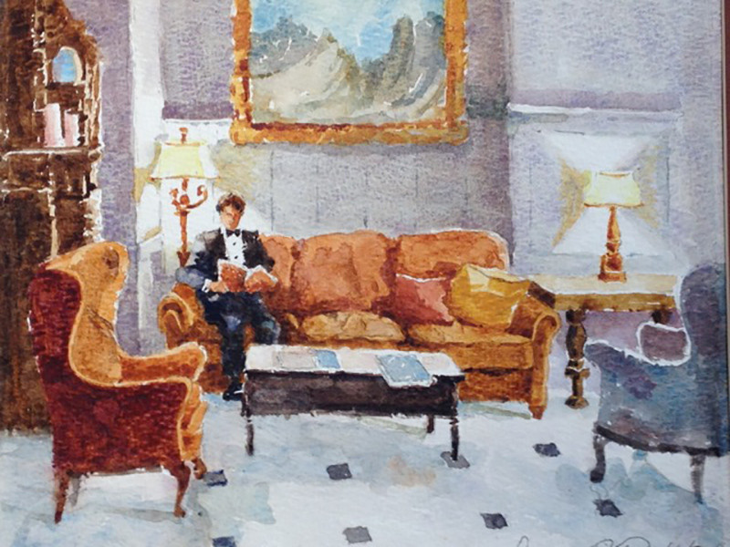 Oxford Hotel Lobby - Denver Watercolor Painting by Dennis Pendleton