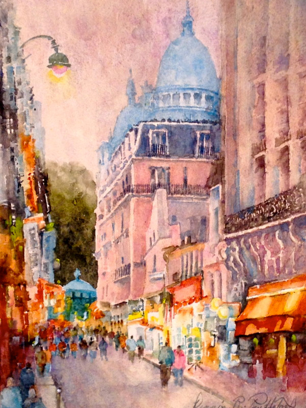 Evening in Montmartre Watercolor Painting by Dennis Pendleton