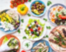 Greek food background. Meze, gyros, souv