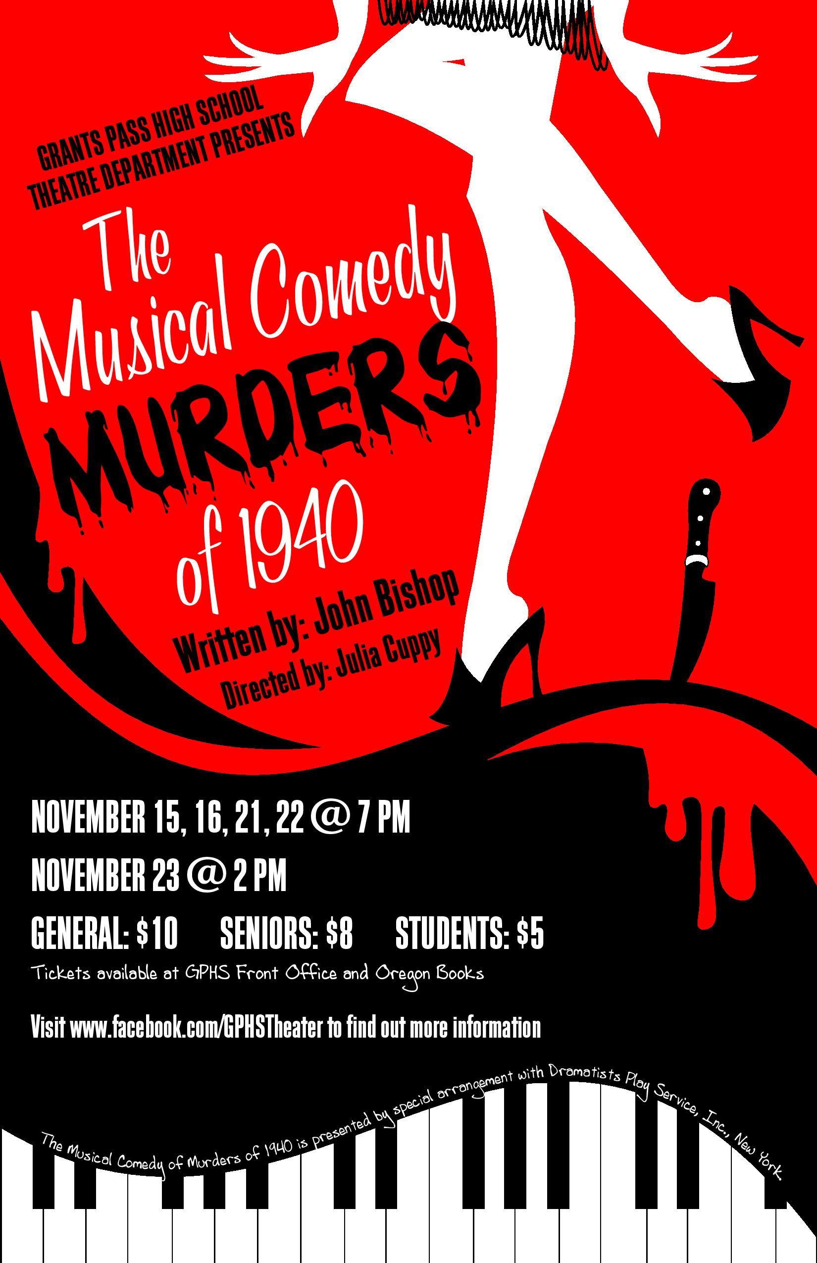 Poster - 2013-14 Fall Play - MusicalComedyMurders of 1940 - TAB_V1-2-page-001