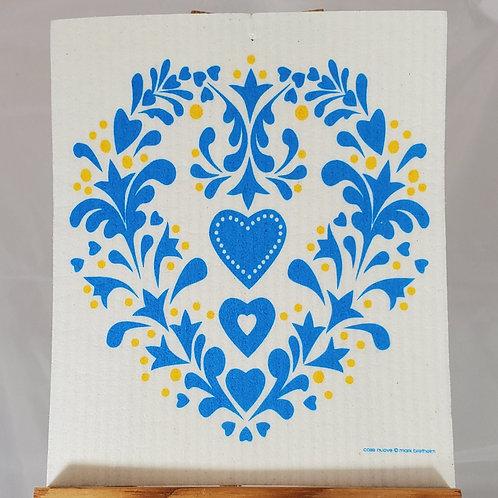 Swedish Dishcloth - Blue and Yellow Rosemaling