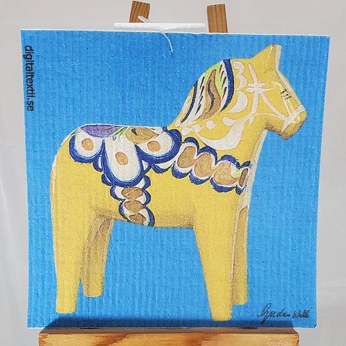 Swedish Dishcloth - Yellow Dala Horse