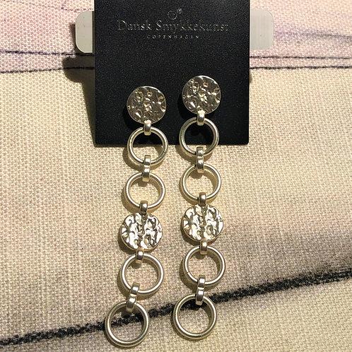 Earring Amber Long Silver