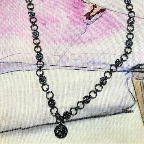 Necklace Amber T-bar Hematite