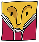 Festival logo of a abstractly drawn yellow face reading a red book with the pages fanned out.