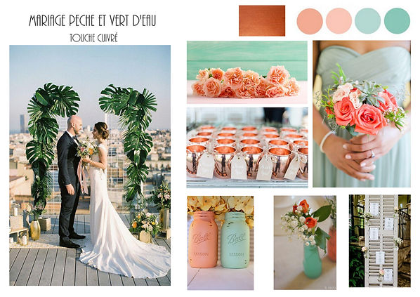 Planche tendance pour un mariage pêche, vert d'eau et touche de cuivre, la clef du wedding design