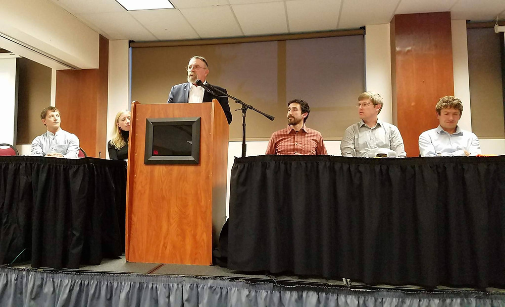 From left to right: Brad Van Wert, a solar panel installer from Bozeman, Environmental Activist Alexis Bonogofsky, Senator Duane Ankney of District 21, Nick Silverman of the Montana Climate Office, Brian Fadie of the Montana Environmental Information Center (MEIC), and Professor Alex Street