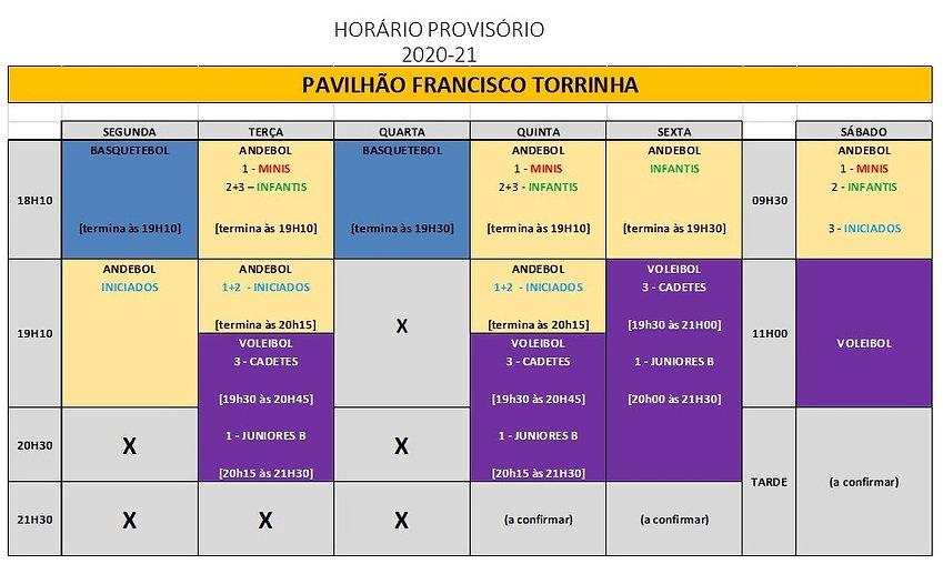 Andebol + Voleibol (CAD + JUNB) - horári