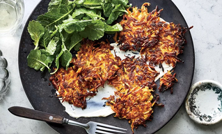 Sweet Potato Fritters with Lemon-Tahini Sauce