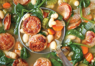 Crockpot Sausage, Spinach and White Bean Soup