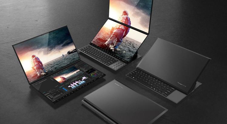 Концепт новых ноутбуков с двумя дисплеями и клавиатурой от Compal