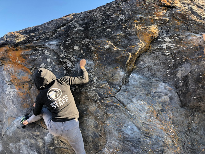Head Route Setter, Jessie, at Turtle Rock at an Outdoor Climbing Event