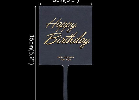 Happy Birthday Acrylic Cake Topper - Flowers
