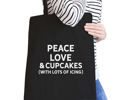 Peace Love Cupcakes Black Canvas Bag Cute Daily Purse Eco Bags