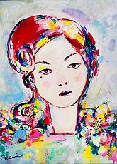 私の作品です。_「花の女」3号Fキャンバス、アクリル、ペン.jpg