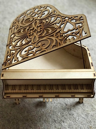Large Piano with Decorative Lid