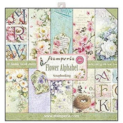Stamperia Flower Alphabet 12x12 Paper Pad