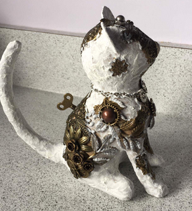 Mixed Media Mache Cat