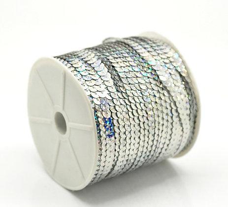 Dazzling Silver - Sequin Trim 5m lots