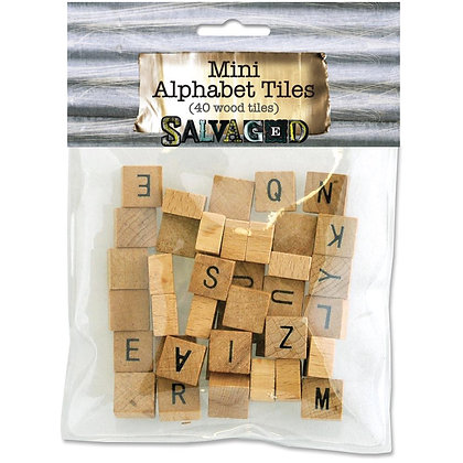 Salvage Wood Alphabet Tiles - 40pk