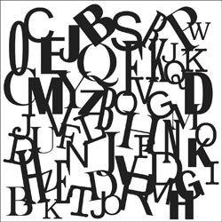 Mini Letters Collage 6x6 Stencil 336