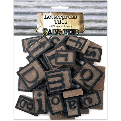 Salvaged Wood Letterpress Blocks - 26pk