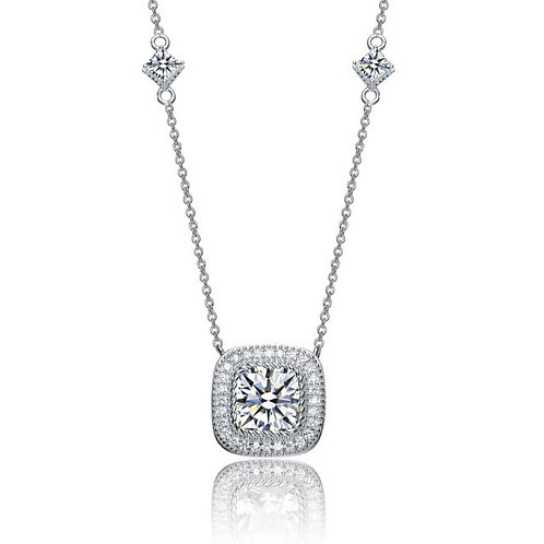 C.Z. Sterling Silver Square Halo Necklace TCN-NEC3133