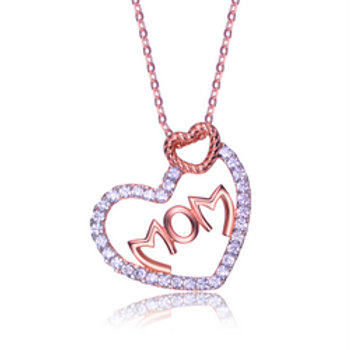"""Sterling Silver Rose Plated Lovely """"MOM"""" Necklace CSN-NEC0906"""