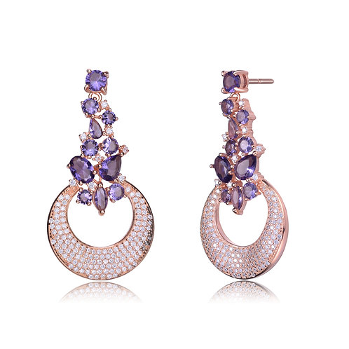 Stunning Amethyst Rose Toned Drop Earrings  TSE-EAR9991-A-ROSE