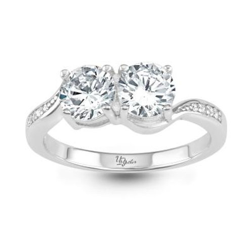 """STERLING SILVER """"US TOGETHER"""" WHITE TOPAZ RING"""