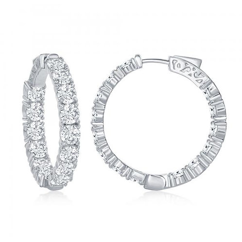 Sterling Silver Inside-Outside 34mm x 6mm Hoop Earrings TCE-D-6901