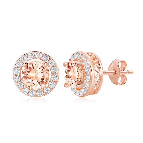Sterling Silver RG Morganite with White Border Earrings CL-D-6924