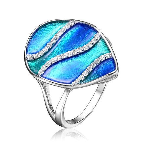 Sterling Silver Blue-Green Swirl Enamel Glass Pear Cocktail Ring CSR-R6556-S