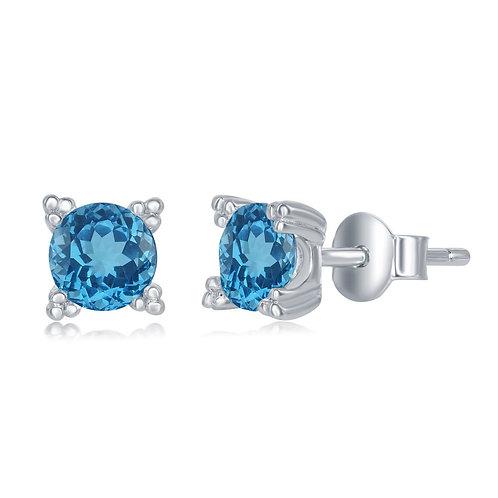 Sterling Silver 5MM Round Blue Topaz Stud Earrings CL-D-6574