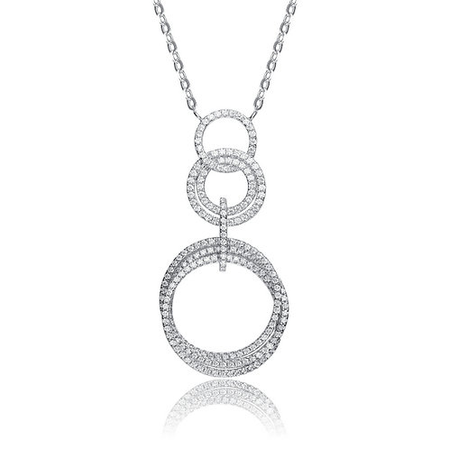 Gorgeous Pave Set Circle Drop Pendant CSN-NEC3224