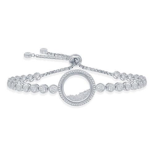 Sterling Silver Floating Stones Pave` Set Bracelet TCB-T-7628
