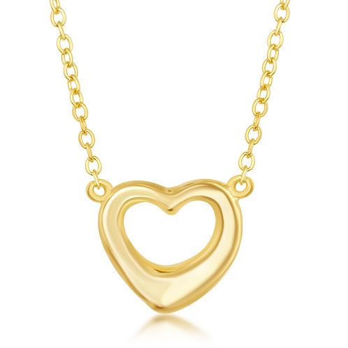 Sterling Silver Gold Plated Puffed Open Heart Necklace CL-L-4098-GP